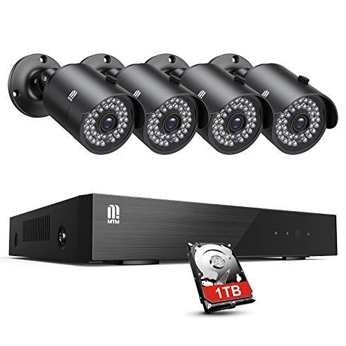 【5MP Cameras】 Security Camera System 1TB Hard Drive MTM 8 CH H.265 + Security System DVR Outdor Camera Surveillance 4pcs…