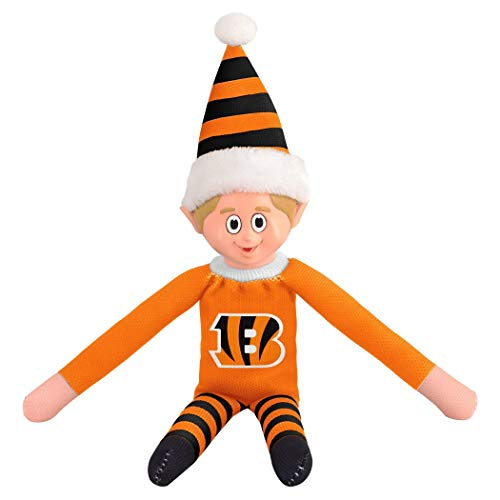 - no!no! 14 Inch NFL Bengals Team Elf Football Themed Team Color Logo Mens Collectible Toy Sweatshirt Santa Hat, Man Cave Decoration Christmas for Fan Orange Black, Polyester