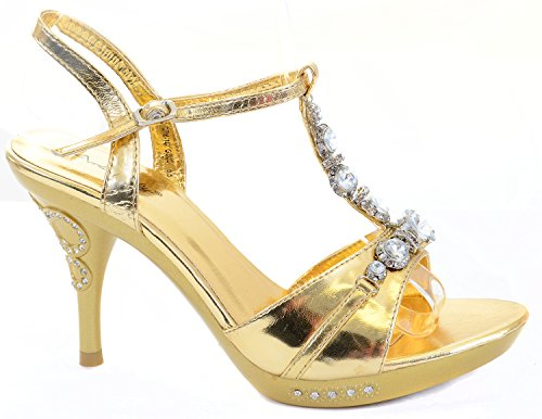 Fourever Funky Women's Metallic Leatherette Heels Formal Platform Sandals Gold LLLoFhgca