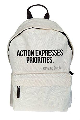 Action Expresses Priorities Ghandi Zitat Drucken Rucksack Gelegenheits Beige Tasche
