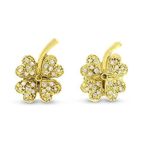 - 0.25 Ct. Natural Diamond Irish Clover Earrings in Solid 18k Yellow Gold