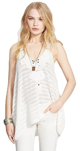 Free People Women's Washed Ashore Embellished Tank Top, Ivory Combo, Small