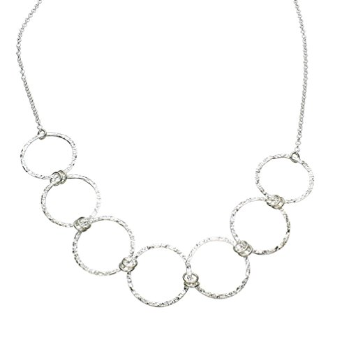 Sterling Silver Flat Hammered Circle Medium Links Chain Necklace Italy ()