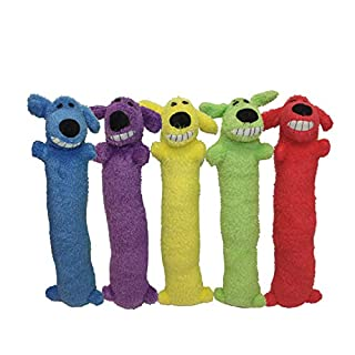 "Multipet Loofa Dog 18"" Plush Dog Toy, Colors May Vary (1 each)"
