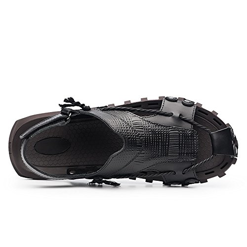 Sandals Rope Beach Casual Slippers Black Leather Shoes Men's Sandal Soft Fisherman Flat Non Hemp Slip CNBEAU qOp8K