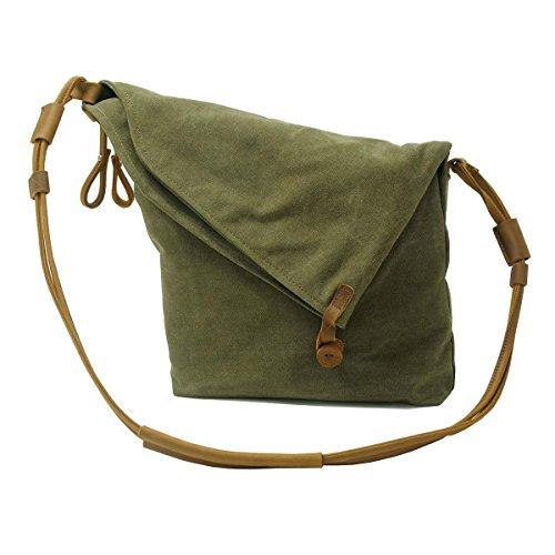 VRIKOO Casual Crazy Horse Leather Canvas Crossbody Messenger Bag Classic Retro Shouder Weekender Bag For Unisex (Gris Negro) Verde