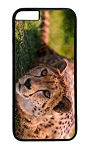 MOKSHOP Adorable cheetah beautiful eyes Hard Case Protective Shell Cell Phone Cover For Apple Iphone 6 (4.7 Inch) - PC Black