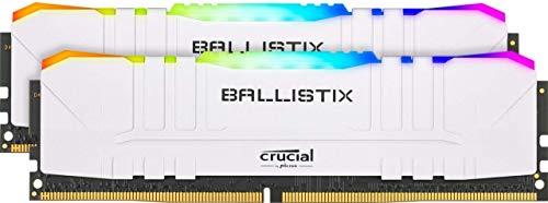 Crucial Ballistix BL2K8G36C16U4WL RGB, 3600 MHz, DDR4, DRAM, Desktop Gaming Speicher Kit, 16GB (8GBx2), CL16, Weiß