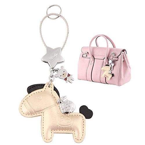 MILESI Cute Horse Keychain (Key Chain) Organizer, Luxury Leather Car Keys Holder, Womens Bag Pendant Charm, Festive Gifts, Golden