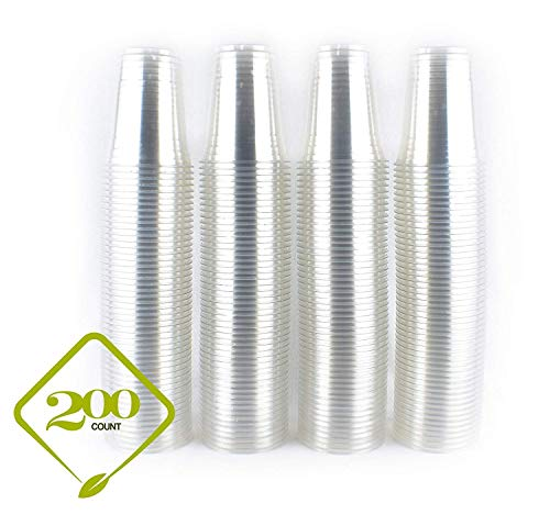 [200 COUNT] 16oz Clear Plastic Disposable Cups - Premium 16 oz (ounces) Crystal Clear PET Cup for Cold Drinks Iced Coffee Tea Juices Smoothies Slushy Soda Cocktails Beer Sundae Kids Safe (16oz Cups)