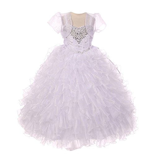 RainKids Big Girls White Heart Shape Beaded Organza Jacket Pageant Dress 10 by The Rain Kids
