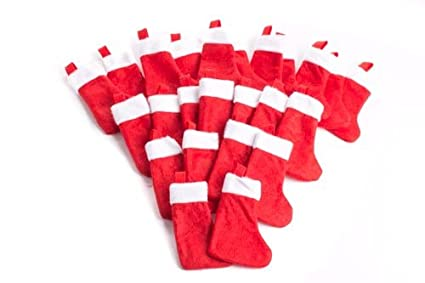 ivenf 12 pack 7 twill mini christmas stockings gift card bags holders bulk personalized holiday