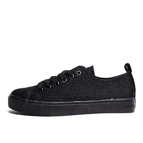 Round Shoes Toe Stylish Black Sneakers Low Leather Vegan Monochromatic up Top Colored Mesh Comfortable Lace Fashion 7HPzyv6qy