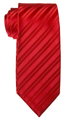 Neckties by Scott Allan - Red on Red Striped Mens Tie ()