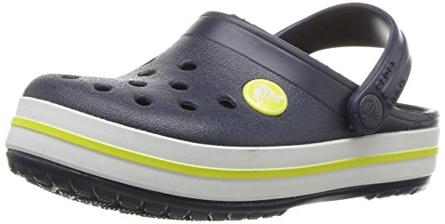 Crocs Kids' Crocband Clog, Navy/Citrus, 5 Toddler