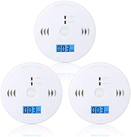 Carbon Monoxide Detector 3 Pack,CO Alarm Detector Sensor Battery Operated with LCD Digital Display for House Kitchen Bedroom Living Room Basement Garage Hotel Office (3AA Batteries NOT Included)