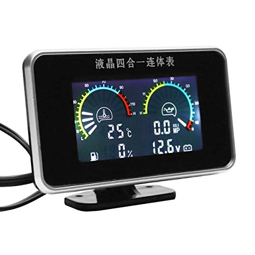 Jonathan-Shop - Auto Replacement Parts 12V 24V 4in1 LCD Car Digital Gauge Oil Voltage Pressure Fuel Water Temp Meter M10