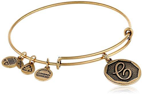 (Alex and Ani Rafaelian Gold-Tone Initial C Expandable Wire Bangle Bracelet, 2.5