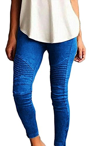 SENSERISE Womens Skinny Stretch Pleated Ankle Zipper Pencil Moto Pants Jeggings (Blue,S)