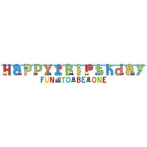 Amscan 1st Birthday Boy All Aboard Letter Banners Set