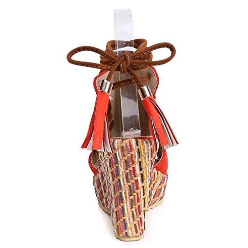 Sandals Lace Strappy Shoes Women Summer up Wedges Orange TAOFFEN xPIA5Ewq