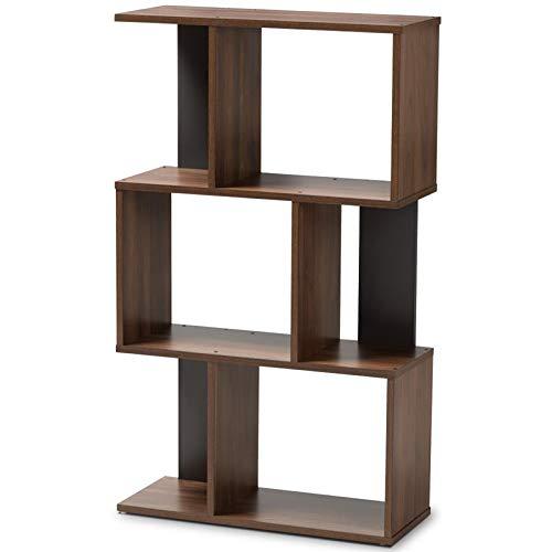 Baxton Studio Display Bookcase in Brown and Dark Gray Finish