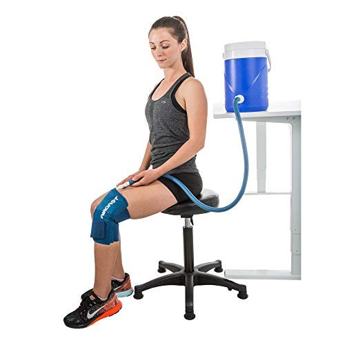 Aircast Cryo Cuff Knee Cold Therapy Machine Cooler for Cold Therapy Knee Solution - Blue - Large, Non Motorized, Gravity-Fed System (Best Ice Pack After Knee Surgery)