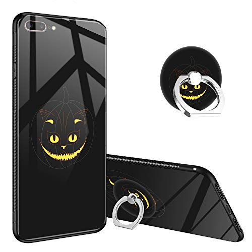 iPhone 8 Plus Case,Halloween Pumpkin Cat iPhone 7 Plus Tempered Glass Back Cases with Finger Ring Stand for Girl/Boys,360°Rotatable Ring Holder Kickstand Fashoin Soft TPU Case for iPhone 7/8 Plus