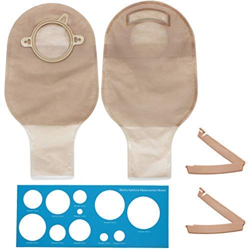 LotFancy 10 PCS Colostomy Bags, Drainable Pouches with Clamp Closure for Ileostomy Stoma Care, Cut-to-Fit,Two Piece System
