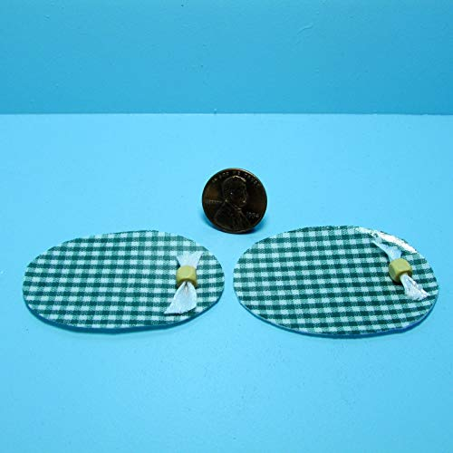 ShopForAllYou Figurines and Statues Dollhouse Miniature Country Green Checkered Placemat Set ~ KI507G