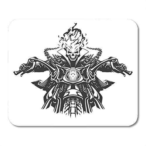 Semtomn Gaming Mouse Pad Ghost Dead Rider Skull Motorcycle Motor Motorbike Skeleton Flame Devil 9.5