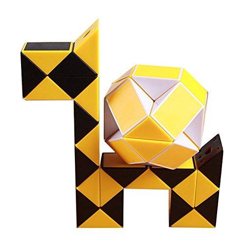 Magic cube,Slider Original Speed Magic Cube Snake Puzzle Ruler Twist 24 Blocks Educational Funny Toys For Children(Black Yellow)