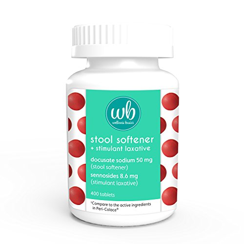 Wellness Basics Stool Softener with Laxative Docusate Sodium 50 Mg Sennosides 8.6 Mg Tablet, 400 Count ()