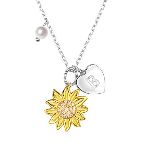 Sterling Silver Gold Tone Sunflower Initial 26 Alphabet Necklace Personalized Pendant B