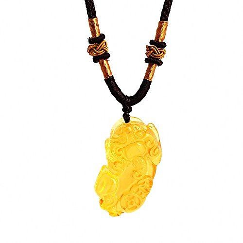 Wenmily Feng Shui Citrine Gem Stone Wealth Porsperity Pi Xiu/Pi Yao Engraving Pendant, Pi Xiu Decorative Hanging Ornament