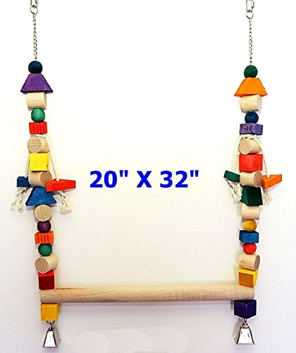 Parrot Bird Cage Toy Mammoth Swing For Macaw Cockatoo African Grey All Big Birds by SADE