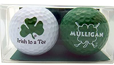 Golf Ball Gift Pack Set of 2 Different Balls for Irish Golfer Mulligan & Irish to a Tee