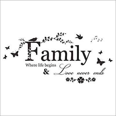 """Family Where Life Begins and Love Never Ends"" Quote Decors Wall Saying Decals Quote for Home Wall Stickers Nursery Decor"
