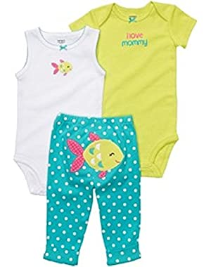 Baby Girls 3 Pc Bodysuits and Pants Set 3 Months Turquoise