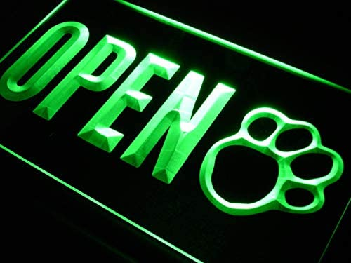 ADVPRO Open Dog Paw Print Grooming Shop LED Neon Sign Green 16 x 12 Inches st4s43-j792-g
