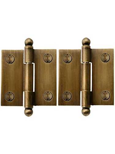 Brass Cabinet Tip Finial (Pair Of Solid Brass Ball-Tip Cabinet Hinges In Antique-By-Hand - 1 1/2