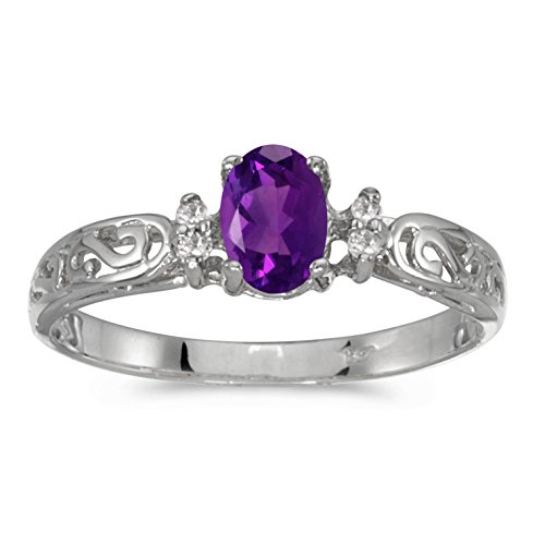 0.38 Carat ct 10k Gold Oval Purple Amethyst Solitaire Diamond Swirl Victorian Promise Fashion Ring 1/3 CT - White-gold, Size 6 - White Gold Oval Swirl