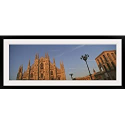 "GreatBIGCanvas ""Cathedral, Duomo Di Milano, Milan, Lombardy, Italy"" Photographic Print with Black Frame, 48"" x 16"""