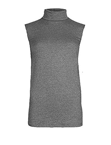 Momo&Ayat Fashions Ladies Stretch Jersey Turtle Neck Sleeveless Top Tshirt US Size 4-22 (M/L (US 8-10), Charcoal)