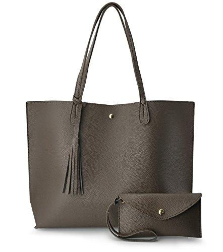 Minimalist Clean Cut Pebbled Faux Leather Tote Womens Shoulder Handbag (Mocha)