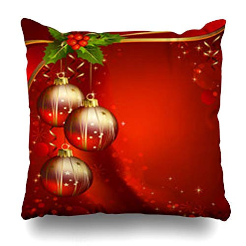 (InnoDIY Throw Pillow Covers Eve Bauble Three Shiny Ball On Red Joy Christmas Holidays Holly Ribbon Gold Xmas Celebration December Pillowslip Square Size 20 x 20 Inches Cushion Cases Pillowcases)