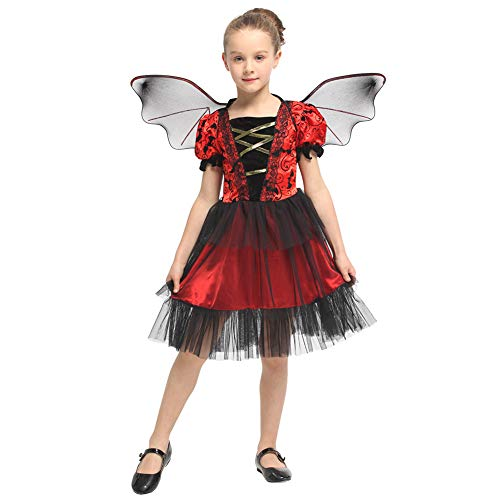 Bat Fairy Costume (CARETOO Little Girls Bat Dresses Costume Halloween Cosplay Romper Fairy Wings Outfits)