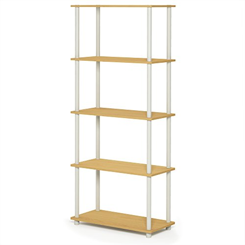 5 Shelf Single - FURINNO 17091BE/WH Turn-N-Tube 5-Tier Compact Multipurpose Shelf, Single, Beech/White