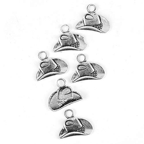(Monrocco 50PC Silver Cowboy Hat Charm Western Charms for Jewelry Making Necklace DIY 20x16mm)
