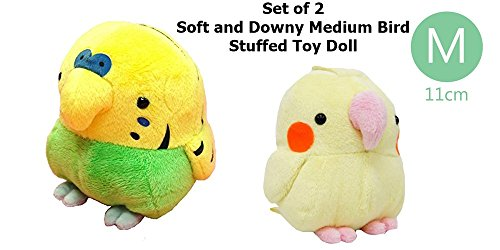 Combo Set of Soft and Downy Medium Bird Stuffed Toy Doll Cocktiel and Budgerigar(Medium Size)